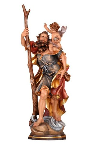 12'' St. Christopher Wood Carve Statue from Pema Art Studio