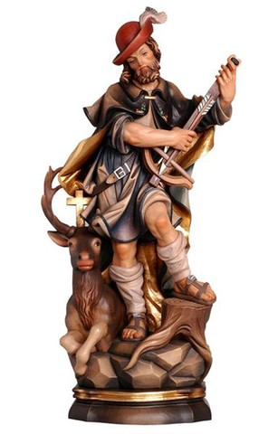 12'' St. Hubert, Patron of Hunters, Wood Carve Statue