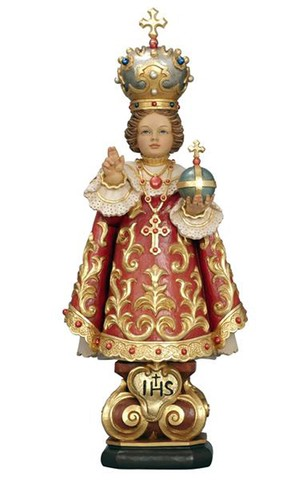 11'' Infant of Prague Wood Carve