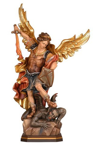 12'' St. Michael Wood Carve Pema Statue