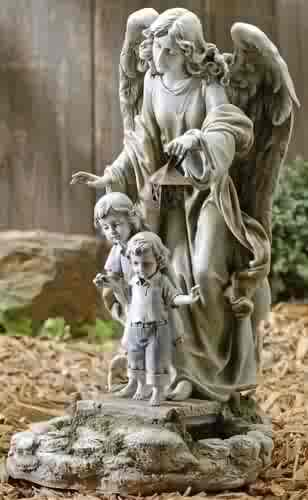 "20"" Solar Powered Guardian Angel With Children Figurine"