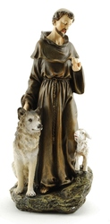 9.75'' St. Francis With Wolf