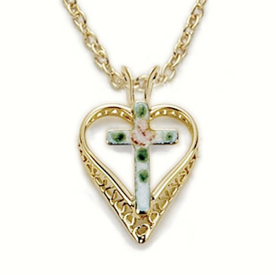 CLOISONNE CROSS IN HEART