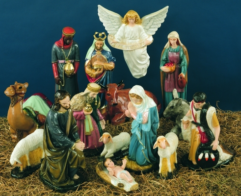 36 inch Complete Nativity Set - Full Color Finish