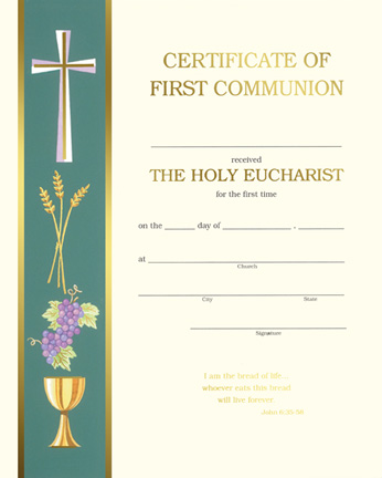First Communion Certificate
