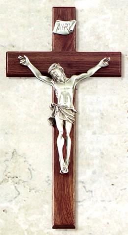 """Wall Walnut Crucifix 15"""""""