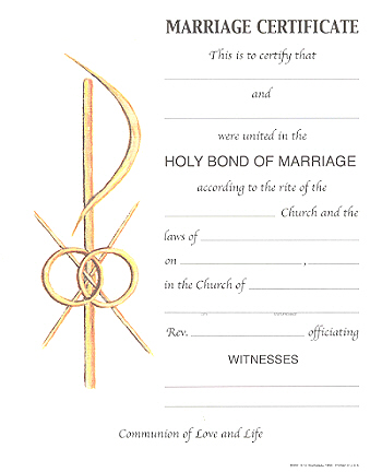 Marriage Certificate 8 x 10 Sold in packages of 100